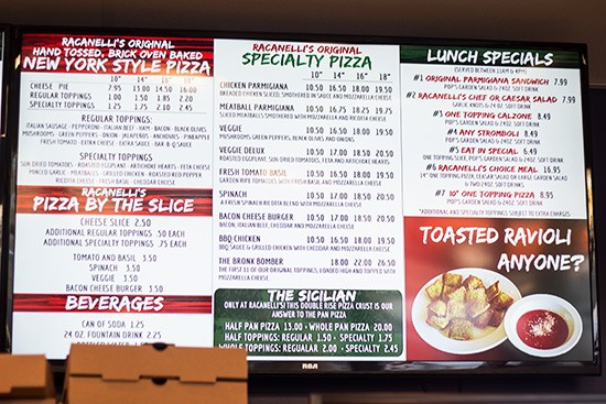 A closer look at a portion of the menu.