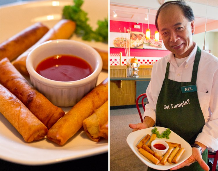 "Bombais' cousin Nel Delacruz serves up a freshly fried order of ""Lumpia Manila."" - MABEL SUEN"
