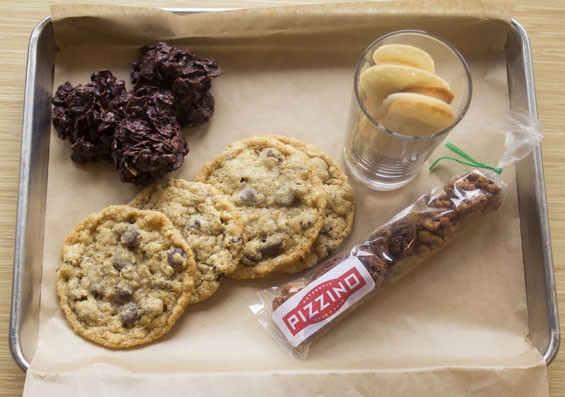"Desserts at Pizzino include ""Rosa del Deserto,"" ""Vicky's Chocolate-Chip Cookies,"" ""Lingue di Gatto"" and spiced nuts. 