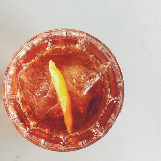 A locally twinged Boulevardier from Small Batch's spring cocktail menu.   Instagram/@smallbatchstl