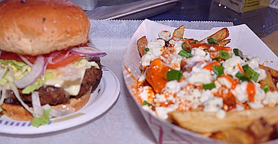 House-made veggie burger and hot and spicy fries at the Shack Pubgrub. - TARA MAHADEVAN