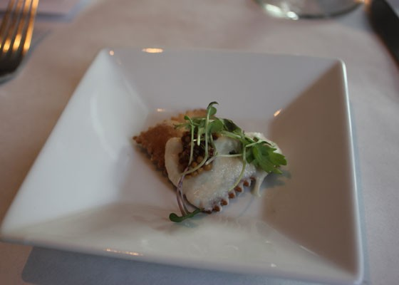 House-made cracker with scallop mousse and microgreens. | Nancy Stiles