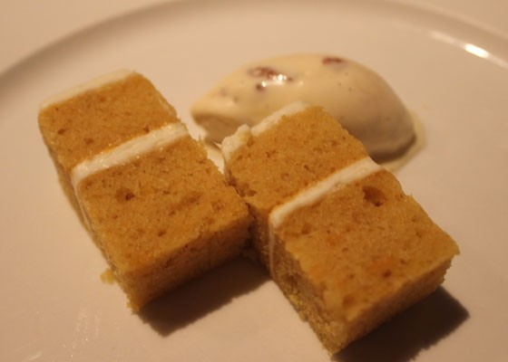 Bergerbluff carrot cake with butter pecan ice cream and whipped cream.   Nancy Stiles