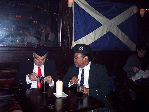 Two Burns devotees last night at the Scottish Arms to celebrate teh 251st birthday of Robert Burns. - PHOTO: BRIAN STITT