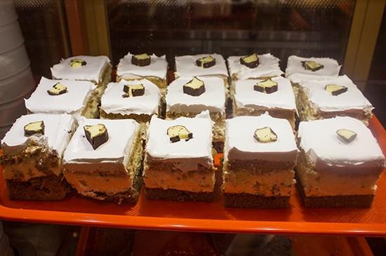 Various cake slices for dessert.