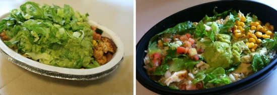 """Can you tell which is Taco Bell's """"Cantina Bell"""" burrito bowl and which is Chipotle's burrito bowl?"""