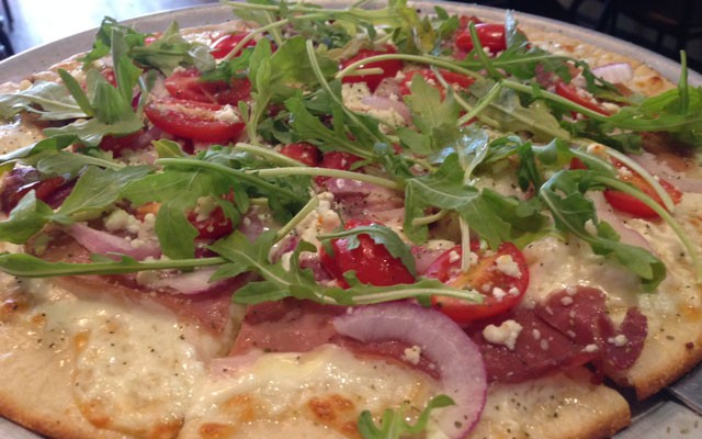 Proscuitto-topped pizza. | Nancy Stiles