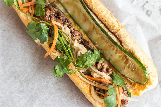A look at the grilled pork banh mi's filling.