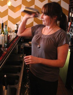Five Bistro's Mary Mangan preparing her award winning cocktail. - EVAN C. JONES