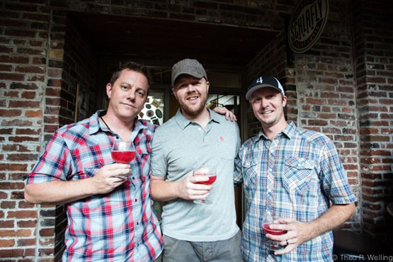 From left to right: Tait Russel with Charleville Brewing Company, Cory King of Side Project, and Kevin Lemp of 4 Hands Brewing Company. - THEO WELLING