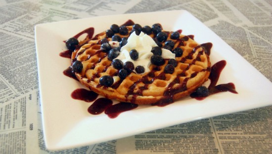 """The """"Violet Beauregarde"""" waffle ($6) at Melt is classic blueberry with whip cream. - LIZ MILLER"""