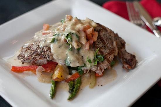 The rib-eye steak in a poblano cream sauce at Laredo - CRYSTAL ROLFE