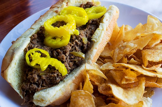 Italian beef sandwich with potato chips ($8.50).
