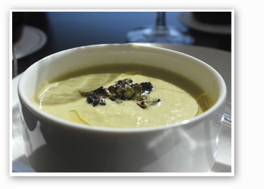 Asparagus truffle bisque with asparagus tips. | Nancy Stiles