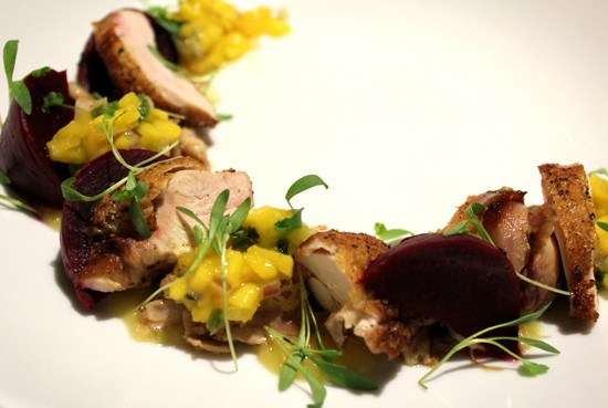 """Medio Pollo,"" featuring boneless breast, smoked leg and thigh, mango-habanero salsa and pickled beets. - MABEL SUEN"