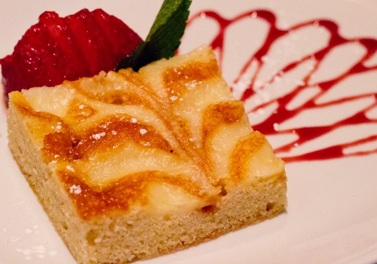 Prasino's take on gooey butter cake with a vanilla merlowe sauce. - MABEL SUEN