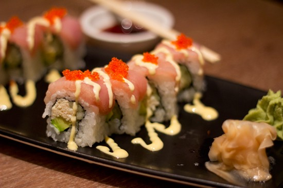 Prasino's polar bear roll with crab, white tuna, avocado, wasabi mayo, cucumber, unagi sauce and wasabi tobiko. - MABEL SUEN