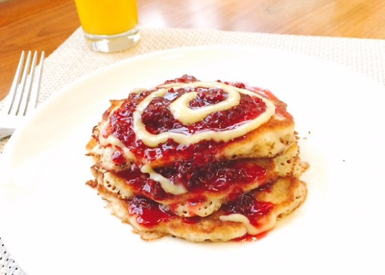 Buttermilk pancakes with raspberry sauce and lemon curd at Cafe Osage | David Kirkland