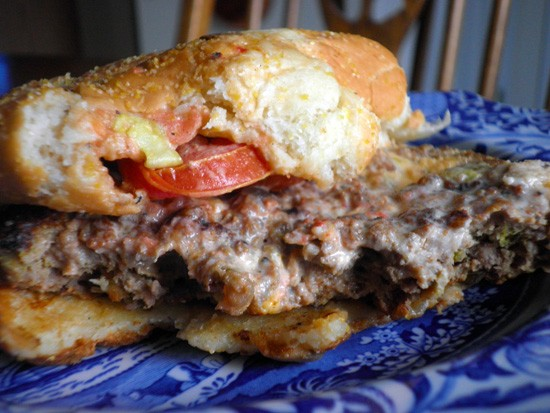 The less colorful -- yet undeniably spicy -- reality: The BK Stuffed Steakhouse, hot off the grill. - KATIE MOULTON