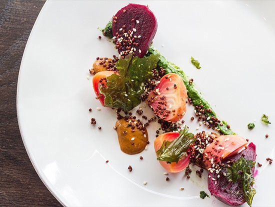 Roasted, pickled and raw beets with quinoa and white-chocolate mole at Público. | Mabel Suen