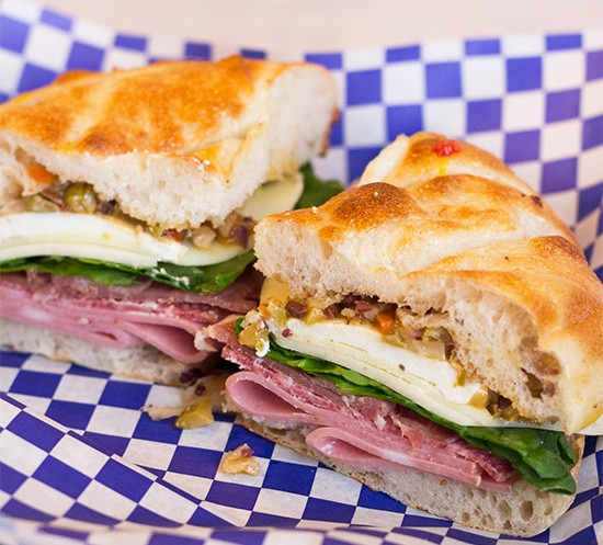 River Des Peres Yacht Club's muffaletta with salami, mortadella, prosciutto, spinach, olive relish, mozzarella and provolone. | Photos by Mabel Suen