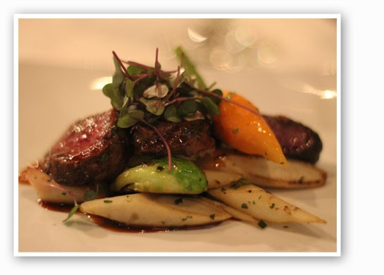 Roasted venison tenderloin with fall vegetables in a demi reduction. | Nancy Stiles