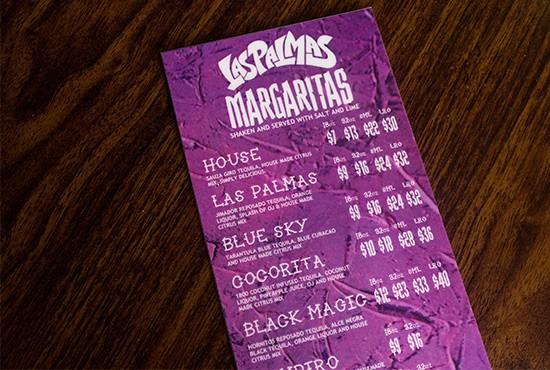Margarita menu.