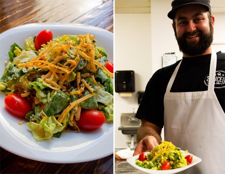 "Brendon Maciariello with a ""Smokehouse salad."" - MABEL SUEN"