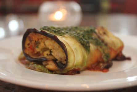 Eggplant stuffed with grouper. - NANCY STILES