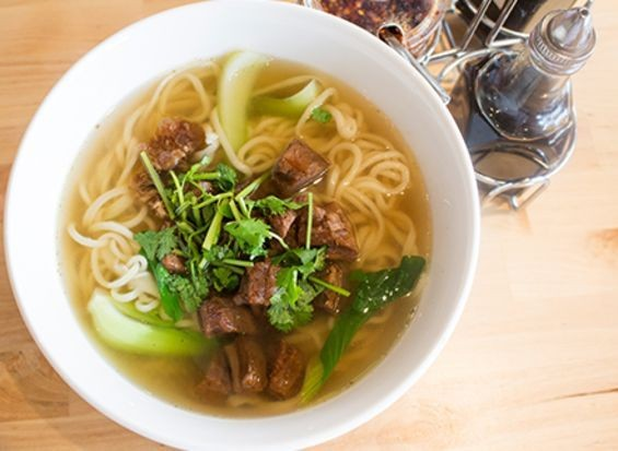 Ramen with beef and bok choy. - MABEL SUEN