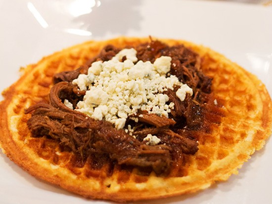 """A """"Blue Ox"""" cornmeal waffle with caramelized onions, slow cooked brisket, - MABEL SUEN"""