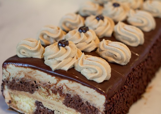 Chocolate and coffee checker cassata cake, a rum soaked sponge cake. - MABEL SUEN