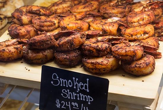 Smoked shrimp.