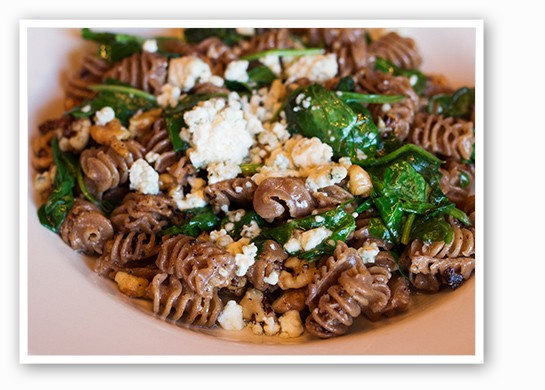 Whole wheat radiatori with bleu cheese, spinach and walnuts. | Mabel Suen