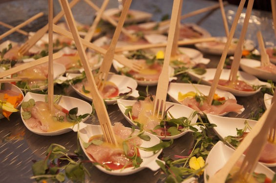 Chilled yellowtail with strawberry rhubarb chile gelee from Quincy Street Bistro. | Micah Usher