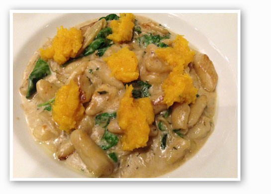 Gnocchi with butternut squash, sage, brown butter cream and shaved parmesan. | Nancy Stiles