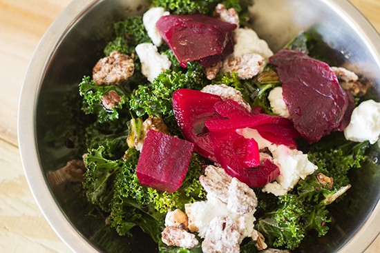 The kale salad comes with pickled beets, goat cheese, candied pecans and balsamic vinaigrette.