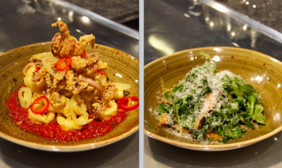 Calamari fritto with stewed tomato and pickled pepper (left) and kale and arugula Caesar with tonnato, caraway and pecorino (right) at Basso. - LIZ MILLER