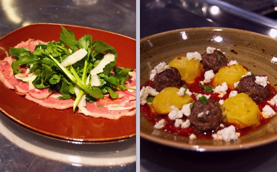 Beef Rib Eye Carpaccio with mead, chile oil, cress and pecorino (left) and baked lamb meatballs with polenta, tomato and goat cheese (right) at Basso. - LIZ MILLER