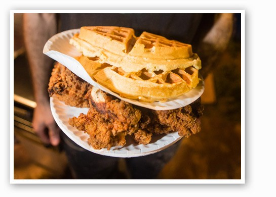 Chicken and waffles from Local Harvest Cafe. | Theo Welling