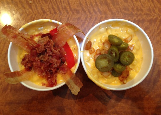 Mac & cheese bowls from Steve's Hot Dogs.   Steve Ewing