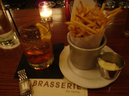 Champagne and pommes frites at Brasserie: a meal we'll surely be nostalgic about in 2020.