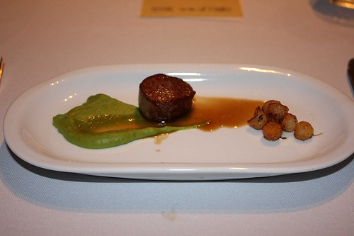 Lamb loin with with roasted Brussels sprout purée, and Parisian potatoes in a lamb jus - KELLI BEST-OLIVER