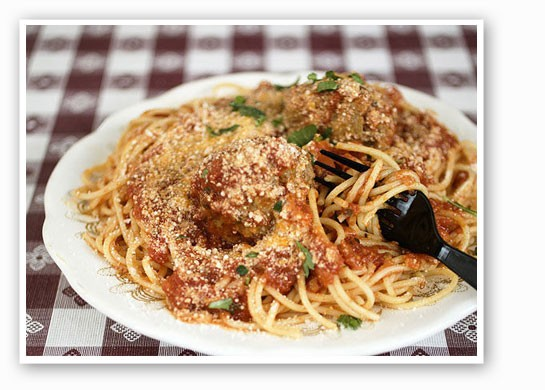 Spaghetti and meatballs made with imported San Marzano Tomatoes and extra virgin olive oil. | Jennifer Silverberg