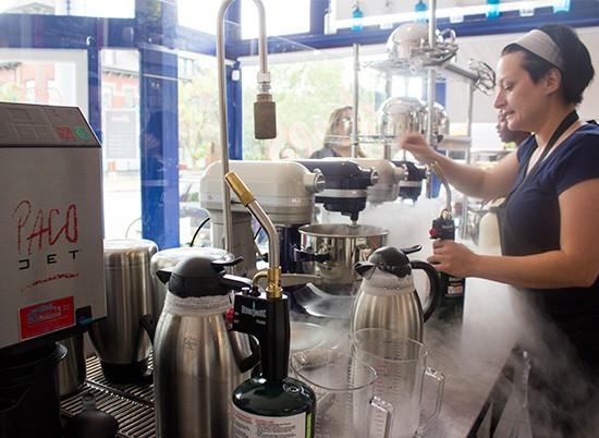 Co-owner Darla Crask making ice cream magic.