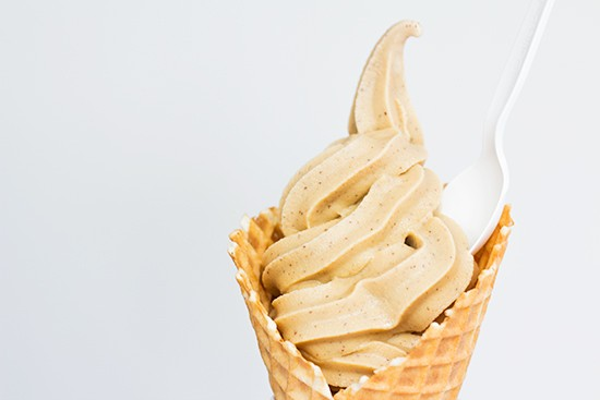 "A ""Sump Pump"": vanilla soft serve infused with Sump coffee in a waffle cone."