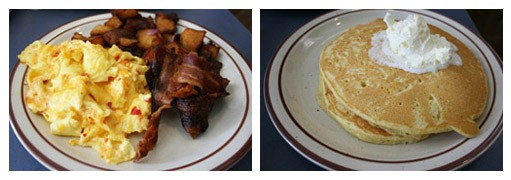 """""""Jonathan's Famous Fiery Scramble comes with eggs, your choice of breakfast meat, home fries and, if you ask nicely, you can substitute your toast for cornmeal pancakes."""