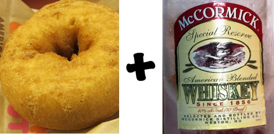 Old-Fashioned Donut, old-fashioned cocktail! Soak the dry pastry in McCormick whiskey, add a dash of bitters and a twist of lemon. It's a Don Draper Donut!