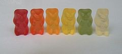 Grab a bun! These gummy bears are ready to become bratwurst. - WIKIMEDIA COMMONS
