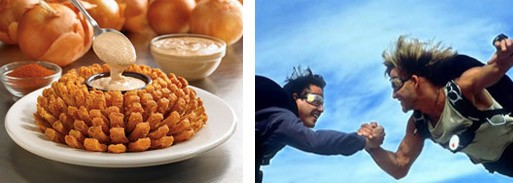 """Let's go to town on this bloomin' onion, brah!"" - IMAGES VIA OUTBACK STEAKHOUSE AND POINT BREAK"